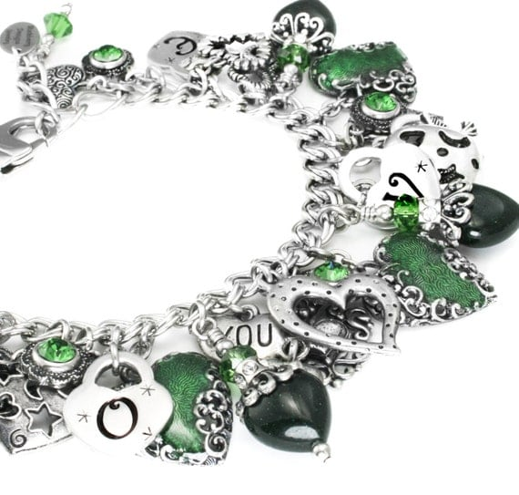Emerald Charm Bracelet, Valentines Charm Bracelet, Emerald Heart Bracelet, Valentines Day, Love Bracelet, Heart Jewelry