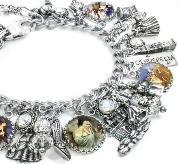 Cinderella Jewelry, Silver Charm Bracelet, Princess Jewelry, The Magic Slipper