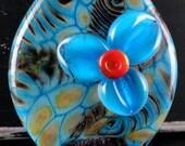 Blue Floral Bloom...Turquoise, Raku, Aqua Handmade Glass Lampwork Bead by Laurie Geller...RAKU BLOOM...SRA