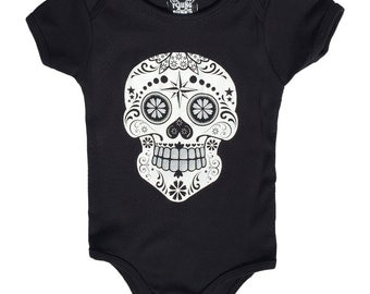 Sugar Skull Black White and Silver ink - 3 sizes available. Screen printed. Handmade.  Cool Funny Baby grow punk cool funny clever rock roll