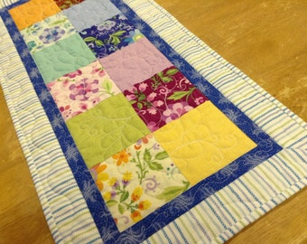 Table Runner quilted bright cheerful colors
