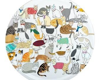 Round Crafty Cats Tray