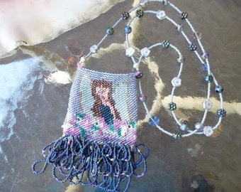 Garden Fairy Amulet Bag Hand Loom Beaded, Long Beaded Necklace in Blue, Lavender, Silver to Wear, Hang on Dresser Mirror, Treasure Keeper