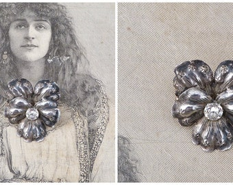 Vintage Antique 1890/1900  French silver & rhinestones pansy flower brooch