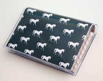 NEW Handmade Vinyl Card Holder - Drk Grey Ponies  / card case, vinyl wallet, women's wallet, small wallet, pretty, gift, cute, ponies, horse