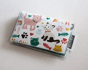 Handmade Vinyl Card Holder - Cat Icons, card case, vinyl wallet, floral, flowers, dear sukie, snap, women's wallet, small wallet, cat wallet