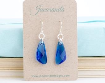 Crystal Earrings - Capri Blue Swarovski Crystal Dangle Earrings - Sterling Silver Ear Wires - Beach Wedding