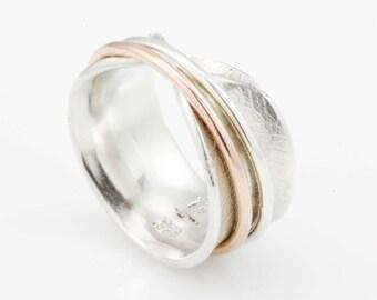 Open Bodhi Leaf Spinner Ring, spinner ring, fidget ring, spinning ring, statement ring, worry ring, meditation ring, silver ring