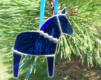 Blue Dala Horse Ornament with Decorative Solder, Swedish Christmas Ornament, Tiffany Stained Glass Horse, Swedish Custom, Free US shipping