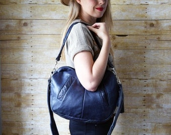 FURROW bag // dark blue leather slouchy hobo bag