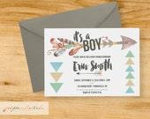 Tribal - Arrows - Boho - Baby Boy - Baby Shower Invitation - Digital File or Printed
