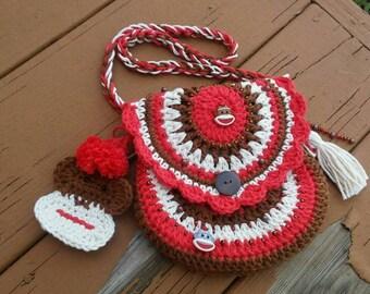 Handmade crochet sock monkey girls purse, crochet sock monkey bag, coin purse, red Brown and cream sock monkey, crocheted purse
