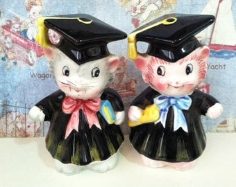Vintage PY Teacher's Gift Cats Kittens Graduates Scholars Salt and Pepper Shakers Antique Lusterware Collectibles or Cake Toppers
