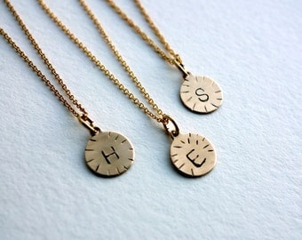 Handmade 14k Gold-Filled Initial Disc Pendants