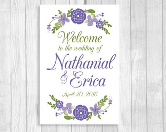 Personalized 20x30 Large Printable Wedding, Bridal Shower or Baby Shower Welcome Sign in Lilac, Lavender and Purple with Flowers