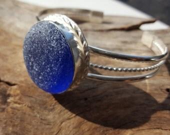 Cobalt Blue Sea Glass Cuff Bracelet Cobalt Blue Sea Glass Jewelry Cobalt Blue Beach Glass B-224