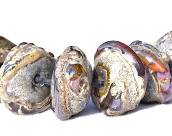 6 Large Rustic Relic Beads , Organic Rustic Lampwork Beads , rustic looking  glass beads by Beadfairy Lampwork, SRA