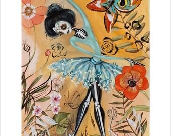 Ballerina, Day of the Dead, Sugar Skull, Ballet, Flowers - Pop Surrealism Fine Art Print - by Heather Renaux-unframed