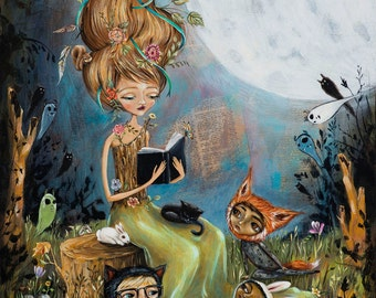 Mother Nature, reading, books, children reading in the forest, forest spirits, Pop Folk Surrealism Print by Heather Renaux