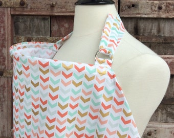 Nursing Cover-Gold/Mint/Coral Arrows-Free Shipping When Purchased With A Wrap