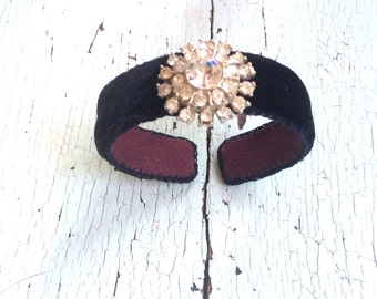 Velvet and Rhinestone Adjustable Cuff Bracelet