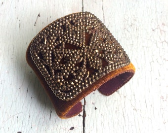 Bronze Silk Velvet Autumnal Cuff - Adjustable