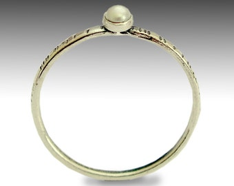 tiny ring, thin band, grooved band, sterling silver band, fresh water pearl ring, stacking ring, delicate silver ring - Time out R1594X