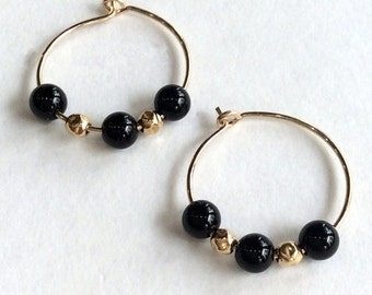 Black earrings, Onyx earrings, hoop earrings, goldfilled earrings, stone earrings, small hoop earrings, unique earrings - Drama queen E8008