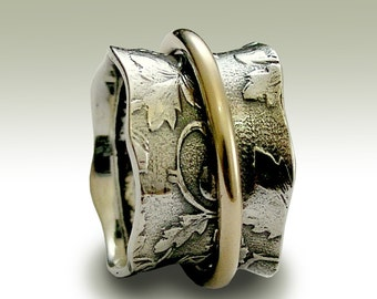 Wedding band, Sterling silver band, gold spinner ring, two tones ring, botanical band, silver leaves ring - Nothing else matters R1736A