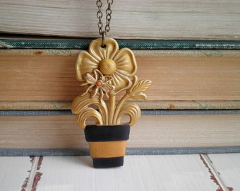 Vintage Celluloid Flower Pot Pendant. 1940s WWII Era Potted Flower & Tiny Bee Necklace. Flowers and Insect Nature / Animal Jewelry Gift