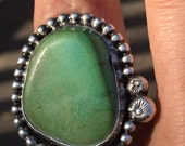 Vintage large turquoise stone sterling silver ring sz 8