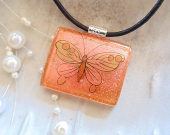 Orange Necklace, Dichroic Glass Pendant, Necklace, Fused Jewelry, Butterfly, Necklace Included, A10