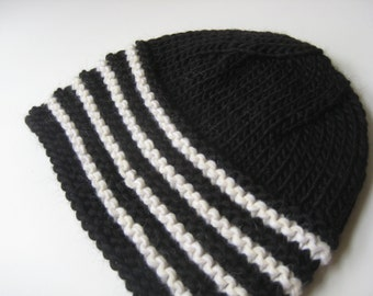 black and white hand hat hand knit wool hat