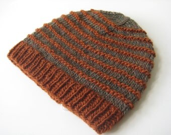 mans knit hat knit cap green brown knit hat