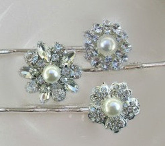 Wedding Hair Pins, Pearl bobby pins, Bridesmaid hair, Bridal hair Clips, Crystal Hair pins, wedding hair piece, Bridal accessory