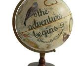 Custom Adventure Begins, Bird Pushpin Globe