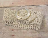 Vintage Lace Wedding Cuff, Lace Bracelet, Vintage Buckle