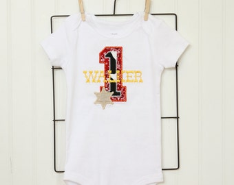 Western Birthday Party shirt or onesie - Red bandana, cow print, sherrifs badge - Free personalization