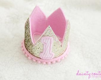 First Birthday crown - Girl tiara - Birthday glitter pink - Party crown