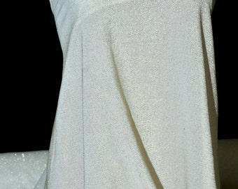 Metallic  American Knit Fabric Ivory/Gold  stretch semi-sheer , doll clothing, costume, formal wear, crafts