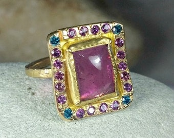 Tourmaline Statement Ring, Pink Tourmaline and Diamond Ring and Rhodolite Gemstone Ring, solid 18 kt gold ring
