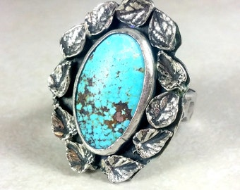 American Turquoise Statement Ring, Silver,   turquoise garden Solitaire Ring, turquoise Jewelry, Nature Jewelry