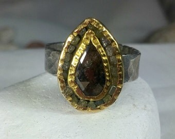 5 carat rough diamond Statement  ring, engagement ring,  rose cut diamond and 22 kt yellow  gold  ring ,  birthstone ring