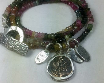 Ancient Greek coin charm Bracelet, Tourmaline and ancient coin wrap Bracelet, interchangeable necklace and Bracelet