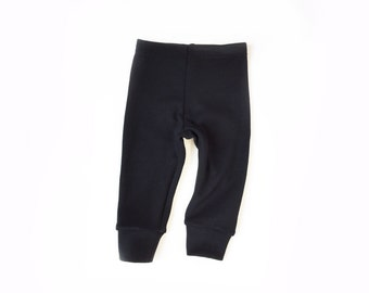 baby wool leggings (black wool ponte, heavweight) - 6m