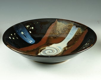 Handmade serving bowl in tenmoku glaze wheel thrown pottery serving bowl