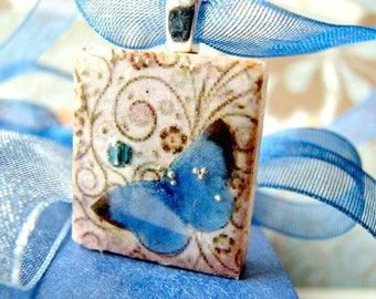 Butterfly necklace, butterfly pendant, Valentines gift, blue butterfly, Scrabble tile necklace, butterfly charm, blue butterfly necklace