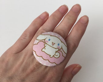 Large Cinnamoroll fabric button ring