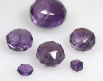 Assorted rose cut faceted amethyst beads