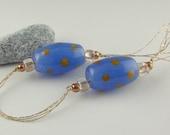 Lampwork Glass Beads, Handmade Lampwork Bead set, Artist Lampwork, Lampwork Bead Pair, blue earring bead pair, Joy